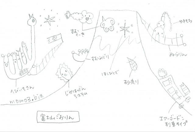 ぬりえ④富士山ごおりん At Momo